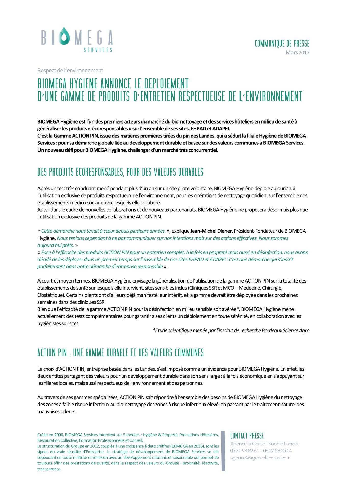 Biomega services - Communiqué de presse - Agence La Cerise