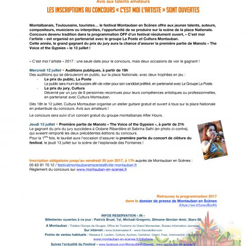 Montauban en Scènes - Montauban en Scènes – Communiqué de presse - Agence La Cerise
