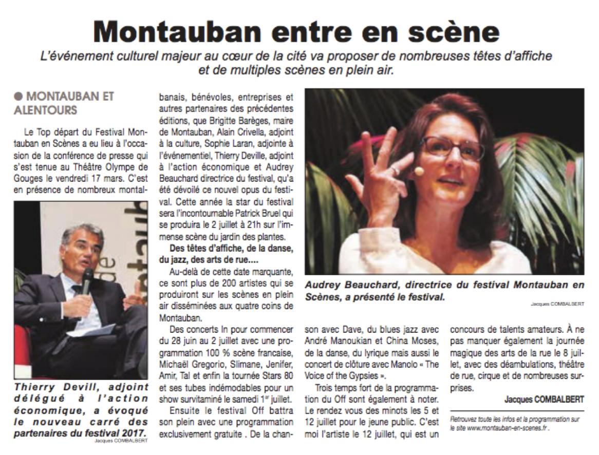 Montauban en Scènes - Le courrier français - Agence La Cerise